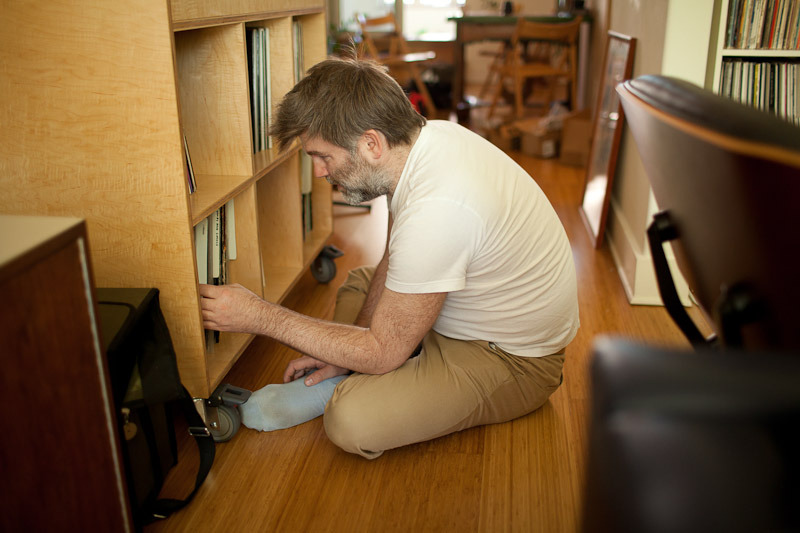 James Murphy at home with his records Photo by Shadi