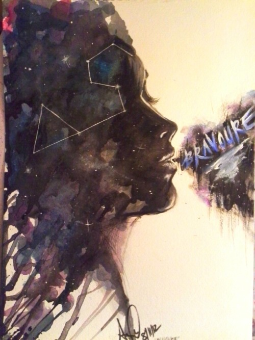 """Bravoure."" Water colours, acrylics, and pen. About an hour."