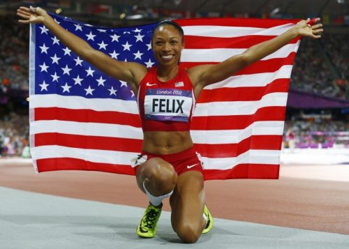 becomingchichi:   Allyson Felix is the first athlete in history to win the gold in the 100, 200 and 400 meter race.  #blackexecellence  love her