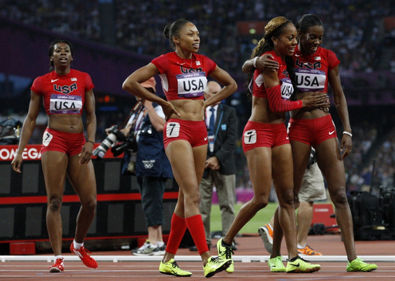 The women of the gold medal 4x400M USA team.