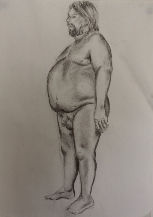 male nude study charcoal on paper