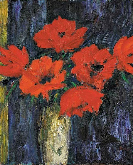 """Oriental Poppies"" ~ John Houston (b.1931) 1991 stilllifequickheart:  John Houston, Oriental Poppies 1991"