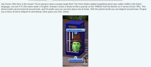 TARDIS parody in the new Sims 3 Supernatual Expansion Pack!http://scificity.tumblr.com