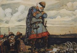 collective-history:  Oleg of Novgorod was a Varangian prince (or konung) who ruled all or part of the Rus' people during the early 10th century. He is credited with moving the capital of Rus' from Novgorod the Great to Kiev and, in doing so, he laid the foundation of the powerful state of Kievan Rus'. He also launched at least one attack on Constantinople, capital of the Byzantine Empire. According to East Slavic chronicles, Oleg was supreme ruler of the Rus' from 882 to 912. This traditional dating has been challenged by some historians, who point out that it is inconsistent with such other sources as the Schechter Letter, which mentions the activities of certain khagan HLGW of Rus' as late the 940s, during the reign of Byzantine Emperor Romanus I. The nature of Oleg's relationship with the Rurikid ruling family of the Rus', and specifically with his successor Igor of Kiev, is a matter of much controversy among historians. via
