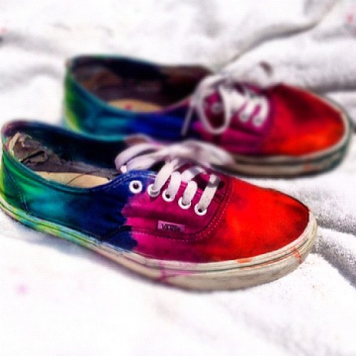 #vans #vansoffthewall #tiedye #dye #shoes #vanscollection #swag #tumblr #kik #edited #diy #ootd #photography #fashion #guyswithtattoos #menwithtattoos #tattoos (Taken with Instagram)