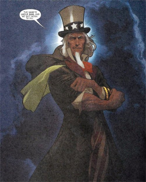 Uncle Sam from Brave New World # 1, August, 2006. You know, the reboot before last. and is it just he or did Daniel Acuna draw Sam to look like Clint Eastwood?