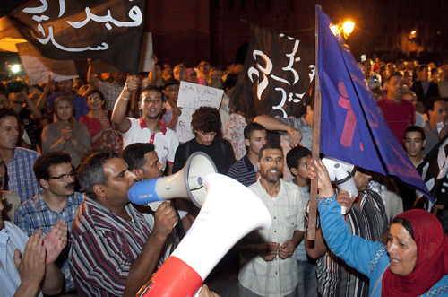 "thepeoplesrecord:  Anti-government protests staged in MoroccoAugust 12, 2012 Hundreds of Morrocans have taken to the streets across the country to protest against corruption, high cost of living and other causes of discontent. About 1,000 people, who were chanting anti-corruption slogans, denouncing the sharp hike in prices, and calling for the release of imprisoned activists, held a demonstration late on Saturday in Casablanca, Morocco's largest city. In Rabat, the capital, some 300 people gathered and chanted slogans against Prime Minister Abdelilah Benkirane and King Mohammed VI. The protesters also held anti-government banners. ""Free the activists… Stop the repression of the people!"" one banner read. Activists of the pro-reform February 20 movement have been jailed for participating in the so-called unauthorized protests. According to witnesses, hundreds of people also held anti-government demonstrations in the central city of Marrakesh and in Tangier, the port city on Morocco's north coast. The demonstrations were called by rights groups, trade unionists and the February 20 movement.  Source"