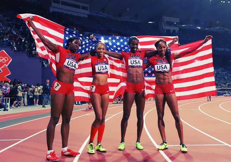 OLYMPICS DAY 15 Francena McCorory, Allyson Felix, DeeDee Trotter and Sanya Richards-Ross celebrate the gold medal win in Women's 4x400m Relay Photo by Alexander Hassenstein