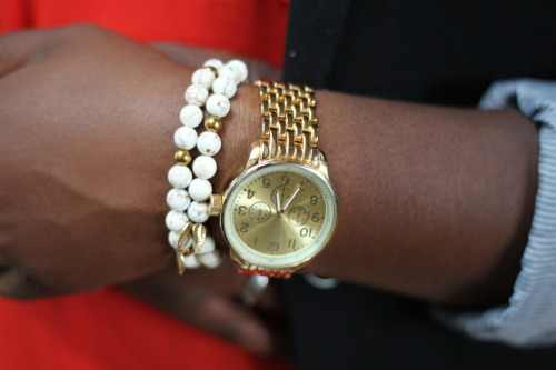 While time pieces are meant to be functional, they can also be fashionable. Pair them up with other metals or even leather bracelets. In the case you see here, beads and charms work perfectly. Watch from Target // Bracelet from Hate'er Jewelry