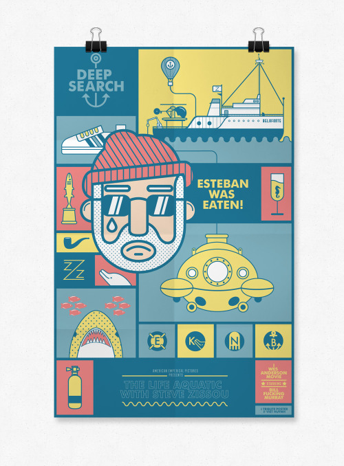 """The Life Aquatic With Steve Zissou"" tribute poster by Viet Huynh Tumblr 