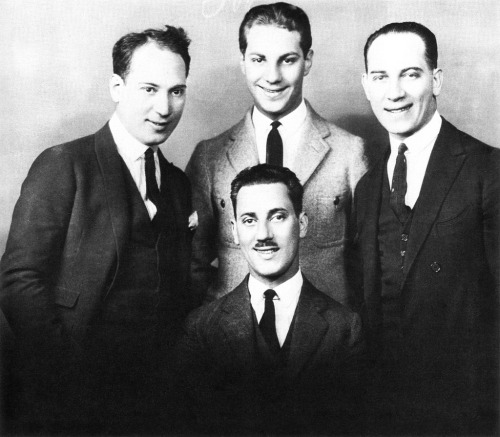 marxbrothers-ducksoup:  A picture of a young Groucho (bottom center) Chico (right) Harpo (left) Zeppo (top center)
