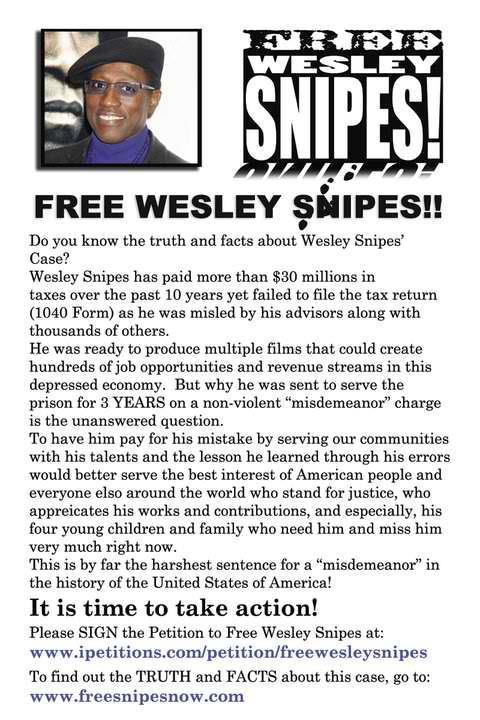 Click here or on the image to sign the petition to FREE WESLEY SNIPES!