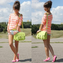 lookbookdotnu:  Neon bag, belt & flats (by Alexandra M)