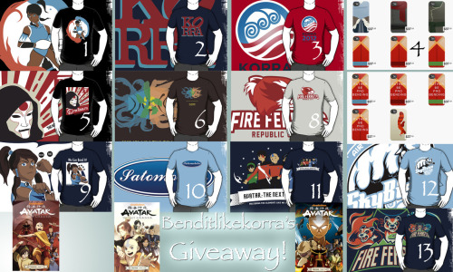 benditlikekorra:  Benditlikekorra's The Legend of Korra Giveaway!  Above are the items at stake. If you win, you win any one item of your choice! 1. 2. 3. 4. 5. 6. 8. 9. 10. 11. 12. 13. The Promise Series (All three will be bundled into one prize)  For those of you who don't know, I've decided to restart this competition for reasons listed out here. And yes, I know that number 7 is missing. :( Rules: You have to be following me seeing as I did this competition for my lovely followers.  Reblog this as many times as you want so long as it isn't on a side account or anything. Likes do count as well and I'll be using random.org to select a winner.  Only one person will win! If you are chosen, you have to respond to an ask I send you within 1 week or you forfeit your win! If you choose The Promise series as your prize, you'll obviously have to wait until the series is fully published. Sorry for the inconvenience! Competition ends September 25th!  Also, feel free to click/join my Korranation link here. Thanks and good luck!