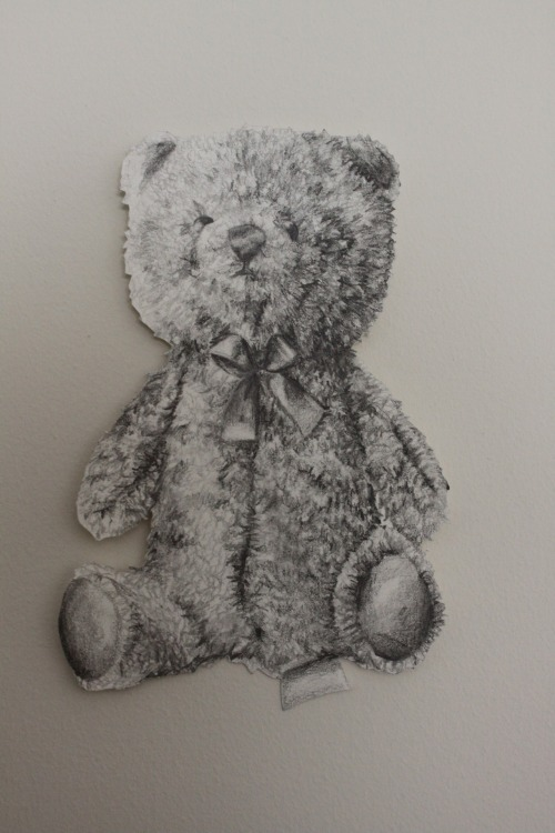 drawing of a teddybear graphite on paper