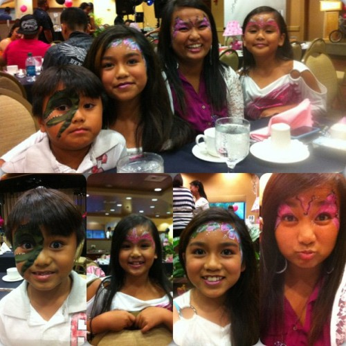Me and my siblings got our face painted☺👍 #face #paint #dinosour #flower #butterfly #unicorn #happy #birthday #lia #best #saturday #night #instacollage #kbaii (Taken with Instagram)