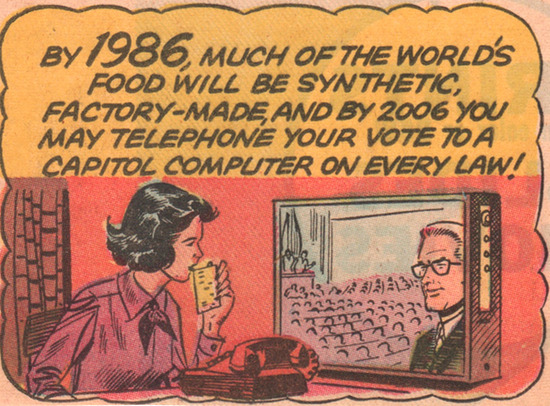 megatrip:  1965 imagines the year 1986 and 2006, filled with synthetic food and direct democracy