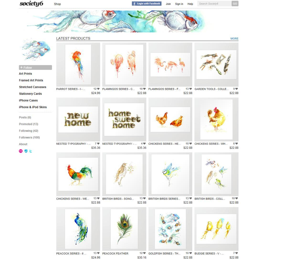 I have been adding more prints & products (packs of greetings cards, iPhone/iPod cases, T-shirts) to my shop on Society6 lately. You can find it here!For today only there is also free shipping! when you use this link: http://society6.com/amyholliday?promo=586bbb If there are any pieces that you would like to buy as a print/pack of greetings cards/iPod/iPhone case or T-shirt that are not on the site yet, let me know and I will do my best to make it available for you!