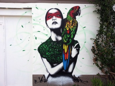 Alabaster at Nagai, stencil Mural in Ibiza, Spain by Fin DAC Urban In Ibiza festival