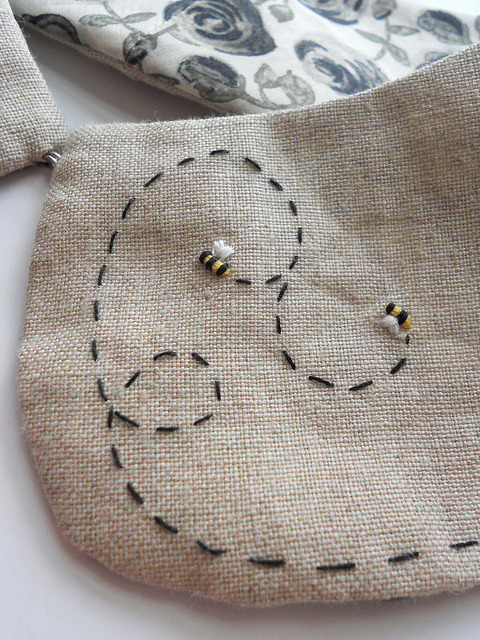 Bee Collar on Flickr. So pleased with the outcome of the Bee Collar.  https://www.etsy.com/listing/106024282/buzzing-bees-reversible-hand-embroidered £35.00 (excluding postage) of which £2.50 will be donated to the BBKA. Gotta support the bees!