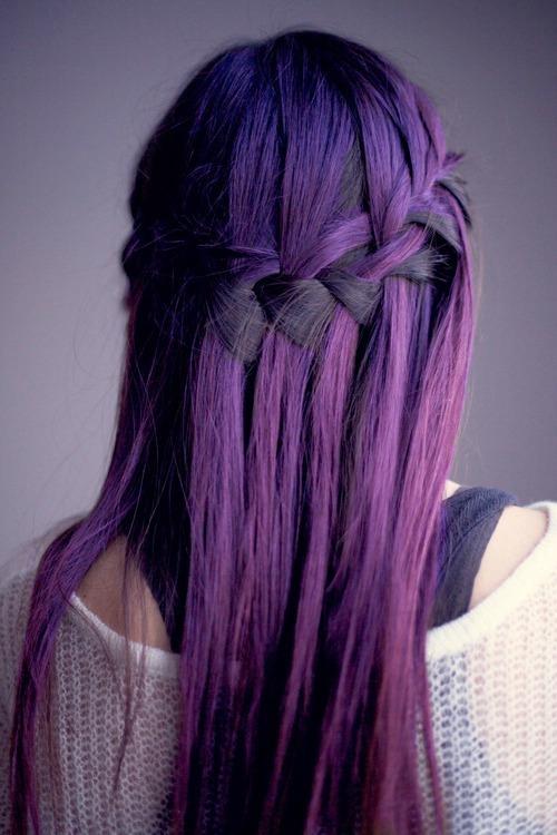 purple hair dyed hair hairstyle plait