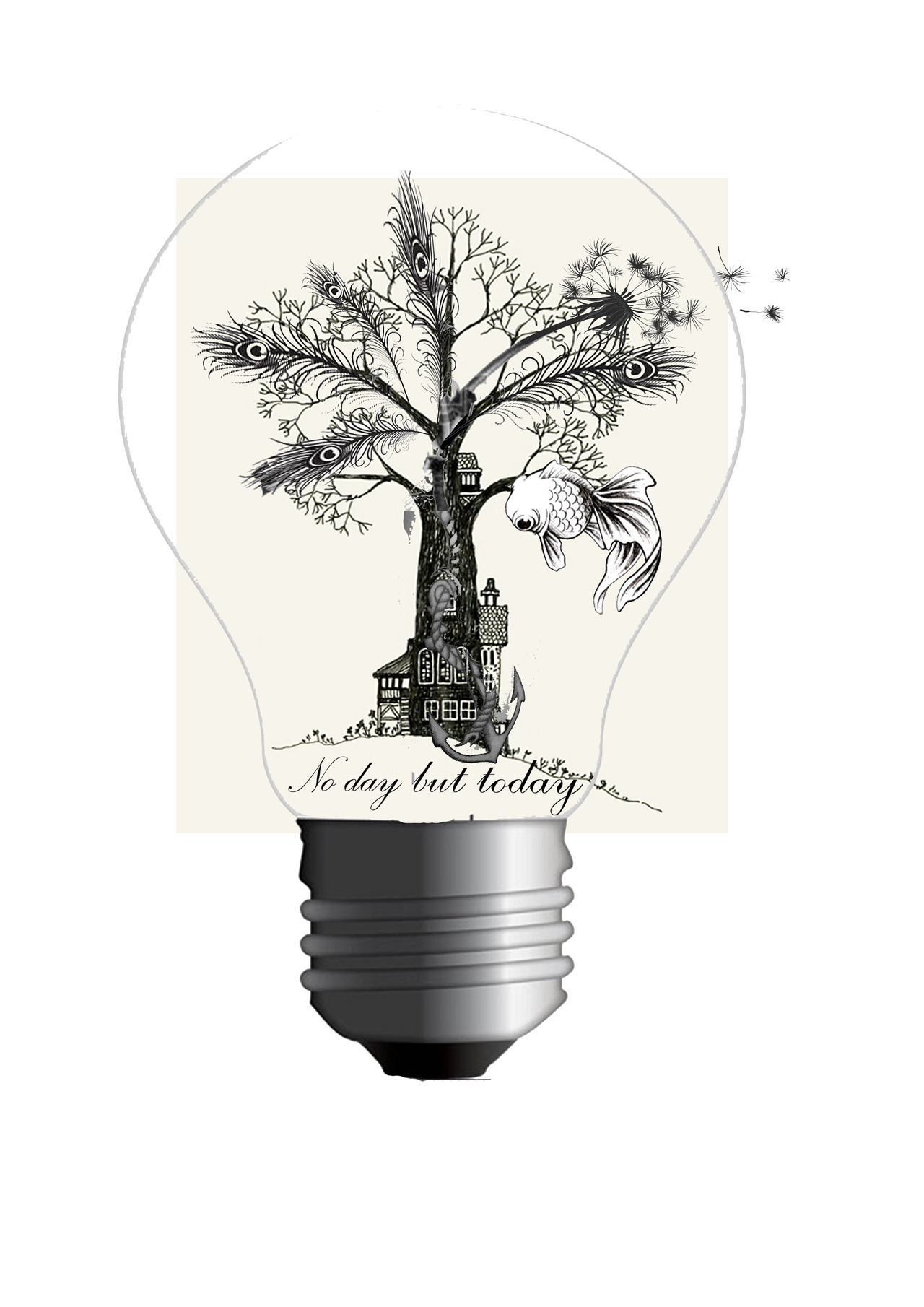 ok it kind of is an change/addition to the tattoo I want - the original concept being just the light bulb, text, a willow tree and a fish. Iwantto add in an anchor burying into the front garden of a house and with rope around the trunk of the house the 'tree' grows from - it has a dandelion head with feathered leaves and the seeds are leaving the flower and out of the lighbulb. the whole sort of idea is that I can grow but I know where my roots are and still keeps my whole Albert Einstein quote 'everyone's a genius but if you judge a fish by its ability to climb a tree it will live its whole life believing it's stupid' - basically 'play to your strengths'. this way i could add extras like I thought about changing the lighbulb by adding a basket so it looks like a hot air balloon and having things dangling off it. jesus this is going to cost a fortune.
