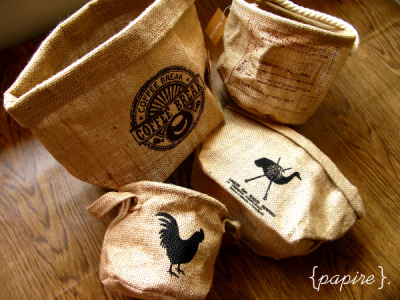 Coffee Sack Baskets Designs (Clockwise): Coffee Break | Braided Maroon | Knitted Ostrich | Rooster   Coffee Break  Dimension: 24(L)*22(W)*18(H)  cm Braided Maroon Dimension: 16(Dia.)*13(H) cm Knitted Ostrich Dimension: 23(L)*17(W)*13(H) cm Rooster  Dimension: 12(Dia.)*11(H) cm Another series from our zakka line =) A personal favourite! These lovely coffee sack (burlap) baskets look great anywhere and organizes your work space/ table/ shelf/ closet at the same time!  Available in assorted sizes and shapes.   SGD$6.80 each   Detail: