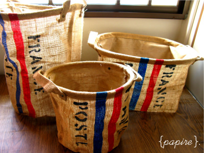 France Poste Zakka Jute Baskets Sizes: Small | Medium | Large  Small Dimension: 24(Dia) * 25(H)  cm Medium  Dimension: 28(Dia) * 36(H)  cm Large Dimension: 43(L)*34(W)*24(H) cm Burlap / Coffee Sack Material Waterproof lining on the inside Silkscreen printing on the front Durable and strong.  Organize your stuff in style. Use it as a laundry basket, waste paper bin, storage bin etc Large ones can fit A4 documents and books. Great quality.  Small: SGD$14.00 each Medium: SGD$16.00 each Large: SGD$18.00 each  Detail: