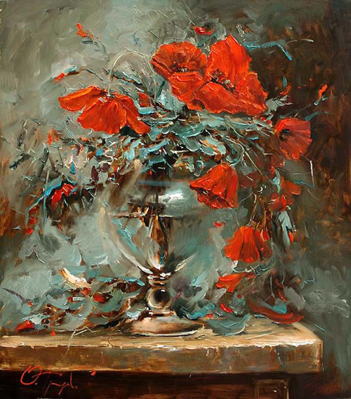 """Poppy Vase"" ~ Oleg Trofimov art-and-dream:"