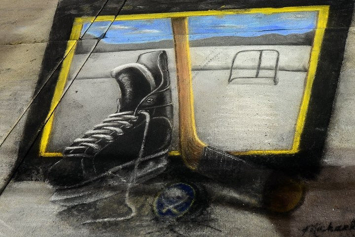 buffaloblog:  Photo from the chalk art festival in Buffalo. #Sabres  This reminds me…Celebrate Erie and the Chalk Walk is coming this week.
