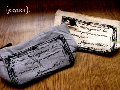 Joyeux Noel Multipurpose Pouch Designs: Slate Grey | Beige  Pouch Dimension : 26(L)*14(H) cm Base Dimension : 18(L)*9(W) cm Large Multipurpose Pouch made of Natural Hemp Linen Great for travelling, as a cosmetic pouch, storing markers, as a large pencil case, etc.     SGD$8.50 each  Detail: