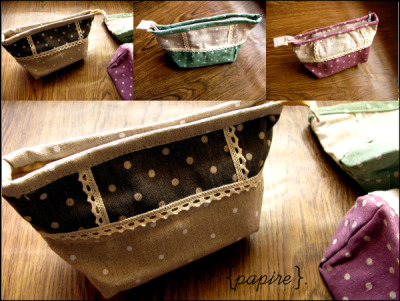 Polka Dot Lace Clutch Pouch Designs: Seagreen | Thulian Pink | Beaver Brown  Dimension: 20(L)*11(H); Base: 12.5(L)*8(W) cm We love the shape and design of these pouches! A mixture of polka dot fabric and lace cloth in gorgeous colours. Don't belittle what you can fit in these.  Great size! Multipurpose  SGD$8.50 each  Detail: