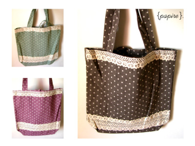 Polka Dot Lace Tote Bags Designs: Seagreen | Thulian Pink | Beaver Brown  Dimension: 34(W)*34(H) cm; Base: 24(L)*10.5(W) cm; Handle; 22(H) cm These are simple but great looking book bags in a mixture of polka dot and cloth lace. Zakka influenced  Comes with a pocket on the inside and a cloth string in the middle for tying the bag close We love the colours on these!  SGD$10.00 each Mailing List Members: SGD$7.50  Detail: