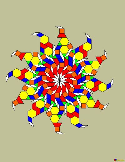 [A complicated 12-part pattern made up of pattern blocks, only instead of real blocks it's computerized.]  I found a way to do pattern blocks without making myself sick. It's not the same but it's still pretty cool. The program I am using is Mandalar for the iPad. There's also an app called Pattern Blocks but in comparison it's both limited and tedious to use.   Mandalar also lets you do things like color the blocks different colors.