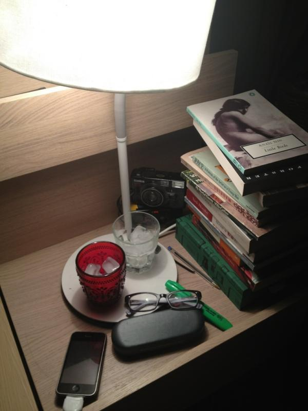 next to my bed last night and all the books I have acquired within the past week and this week I will acquire another 6 I am going to need a new bookshelf