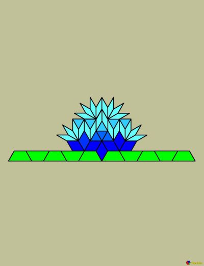[Computerized pattern blocks in the shape of a blue water lily on a lily pad.]  I have been reading a lot about lilypads lately and something about the thin rhombus blocks reminds me of them. This is my first ever successful attempt at making pattern block art that actually represents something. I think it's easier when they can be any color I want, and when the blocks reminded me of the shape rather than trying to force blocks into a shape.