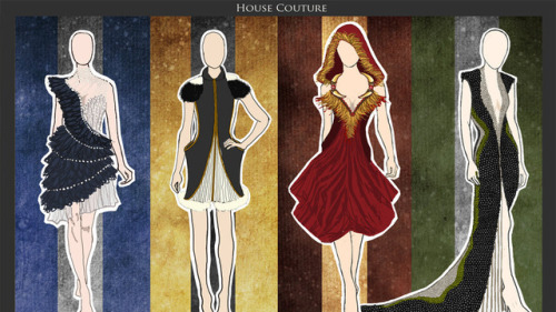 Hogwarts house inspired dresses [x]