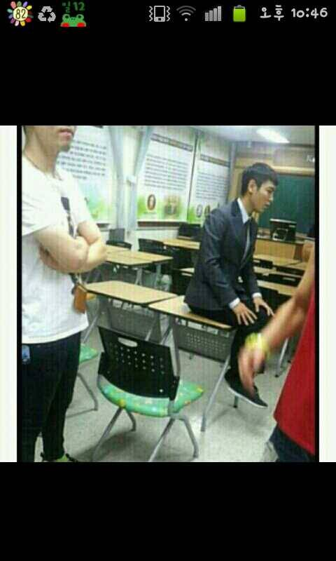 TOP dressed as a student while filming ^^ ~Morinki~ Source: @Mystifize