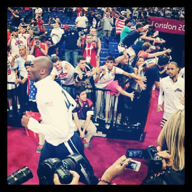 Kobe Bryant and Tyson Chandler of team USA take to the #basketball court for their gold medal game #olympics  (Taken with Instagram)