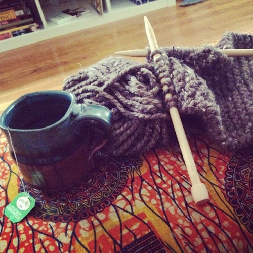 #knitting and morning #tea…early prep for the fall/winter season  (Taken with Instagram)