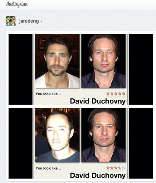 "Suppress the giggles if you can:  ""Why does everybody look like David Duchovny?!"" - Jared Eng (JustJared)   MDW main site . Twitter . Facebook Page . YouTube Channel . Pinterest"