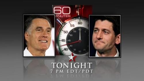 "Looking to see Romney and his new vice-presidential candidate with a ticking stopwatch? ""60 Minutes"" has you covered tonight."