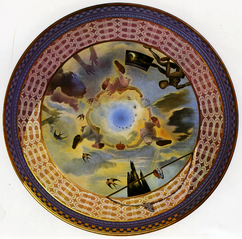 surrealism:  Sunday Dalí: Hour of the Monarchy, 1969. Oil, diameter 3 metres. Ceiling in the Palacete Albeniz, Montjuic, Barcelona. Property of the Town Hall of Barcelona.