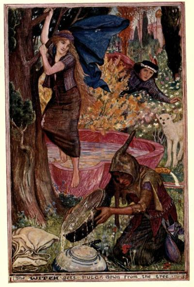 The all sorts of stories book (1911)illustrations by Henry Justice FordThe Witch gets Pulga down from the tree