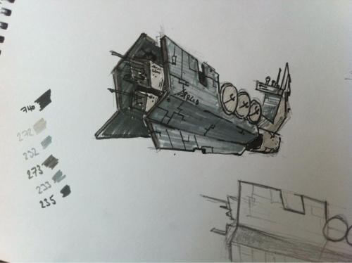 Lunch break doodle- a super quick sketch of the Argo again. Mostly just to try out some new pens I bought when I was on lunch.