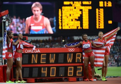 Aug 10, 2012…last night Team USA's women's track team, Allyson Felix,Tianna Madison, Bianca Knight and Carmelita Jeterwon the women's 4x100 meter relay, not only winning the Gold Medal but setting a new world record of 40.82 seconds, which is the first 4x100 relay race in history under 41 secs, breaking the record set in '85 by East Germany…