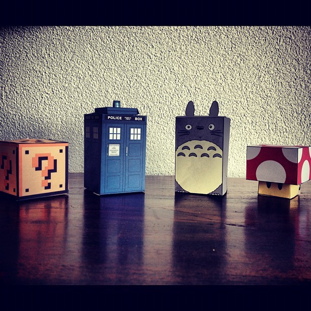 lostinactingtown:  Dr Who, Super Mario & Totoro. Got a bit excited with paper and scissors here…