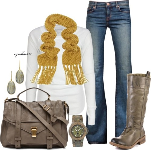 Keeping it Simple~Mustard and Taupe by cynthia335 featuring a scoop neck tee ❤ liked on PolyvoreFull Tilt scoop neck tee / J Brand zipper jeans / Kensie Girl block heels / Proenza Schouler  bag / Wooden jewelry / Pippa Small 18k jewelry / Knit shawl, $62