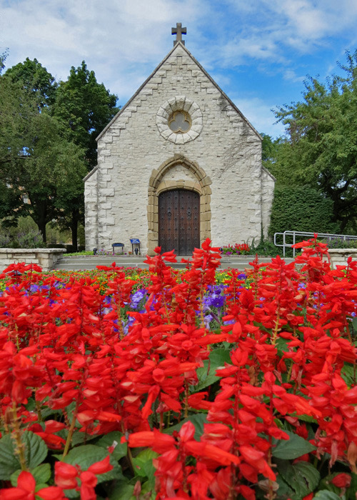 Summer blooms in front of Marquette University's St. Joan of Arc Chapel.