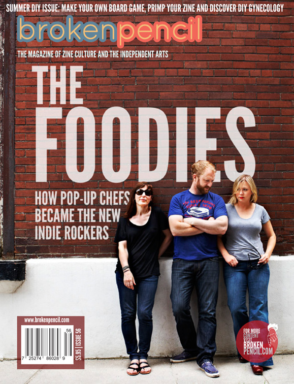 "The Foodies  - How pop-up chefs became the new indie rockers Broken Pencil - Issue 56 - By Ryan Bigge ""Paul Jenkins, meanwhile, is an indie foodster who likes to add a pinch of social commentary to the food he serves at TUM.  He works under the name The Royal Tree Beaver, creating meals that comment on Canadian identity, such as butter chicken on waffles.  He calls this Canadian-Canadian food, a concept that is about a ""strange and unorthidox fusion of cultures as much as the food itself."""